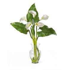 Calla Lily Wedding Centerpieces | Calla Lily with Leaves Centerpiece, Cream | Silk Wedding Flowers