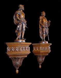 Antique pair carved oak wood medieval warriors kings.