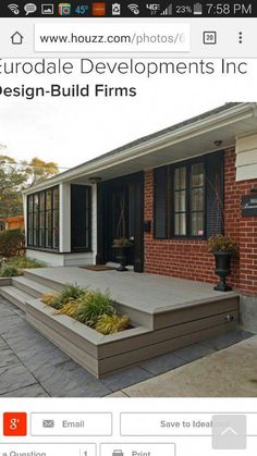 Realistic administered wrap around porch design Front Porch Deck, Concrete Front Porch, Front Porch Addition, Front Stairs, Front Porch Design, House With Porch, House Front, Brick Ranch Houses, Orange Brick Houses