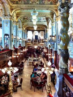 Beautiful cafe in Budapest, Hungary. Find great places to eat on a HUNGARY FOOD TOUR from Viator. Find out more at: http://www.allaboutcuisines.com/food-tours/hungary/in/hungary#Food tours Hungary. Travel Hungary #Hungary Food