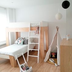 This room tour has some really great ideas for decorating your kids room! Bunk Beds With Stairs, Kids Bunk Beds, Loft Spaces, Kid Spaces, Space Kids, Bunk Bed Designs, Kids Room Design, Room Tour, Kids Furniture