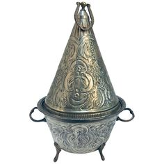 Gorgeous hand chased silver repousse plated large Moroccan tajine dish with cover, typically used for presenting cookies or bread. Moroccan Dishes, Fez Morocco, Royal Crown Derby, Tea Service, Moorish, Serving Dishes, Decoration, Decorative Bells, Brass