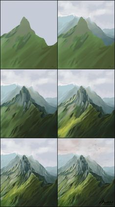 How to paint green mountain summit scene. Digital Painting of mountains in Switzerland. Background Environment concept art drawing process reference s. Digital Painting Tutorials, Digital Art Tutorial, Art Tutorials, Concept Art Tutorial, Digital Paintings, Easy Paintings, Illustrator Tutorials For Beginners, Colorful Paintings, Drawing Tutorials