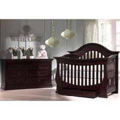 """Baby Cache Monaco Lifetime Convertible Crib - Espresso - Baby Cache - Babies """"R"""" Us - STUNNING (for a girl) - comes with nightstand for the future too"""