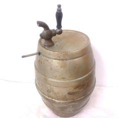Vintage Metal Barrel Keg Wooden Handle Spigot
