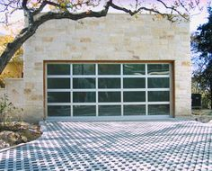 "18'0"" x 8'0"" Contemporary Garage Door with Frosted Glass and Clear Anodized Aluminum"