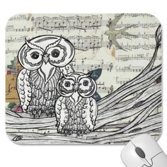 Owls 22 Mouse pad  Owls 22 by Kewzoo  An original, mixed media, owl drawing created using collage, drawing and painting techniques to make a unique design. A great gift for owl lovers. $10.95