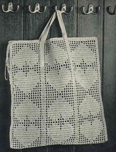 Vintage pattern for a Crocheted Shopping Bag. Tutorial in Swedish.