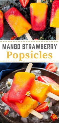 2 Ingredients strawberry mango popsicle with text overlay