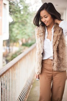 Camel Trousers & White Top Trimmed With Fur - Kate Style Petite