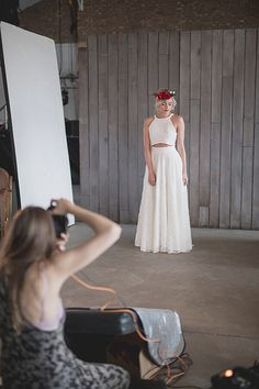 Behind the scenes at House of Ollichon...Strike a pose! The 'Stevenson' wedding skirt is full...and fun when teamed with the mix-and-match 'Stevenson' crop top! Check out the only dress-less bridal wear collection in the UK now at http://houseofollichon.co.uk/shop/ With everything from jumpsuits to culottes, you're sure to find the perfect style for your special day. #weddingideas #alternativeweddingdress #weddinginspiration