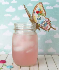 Butterfly Drink Topper made with Kraft paper stuck on a Mason Jar!   What screams Summer more than this??