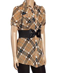 This Brown & Black Plaid Belted Button-Up - Plus is perfect! #zulilyfinds