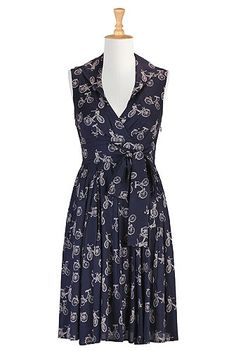 eShakti Bicycle print sash waist dress