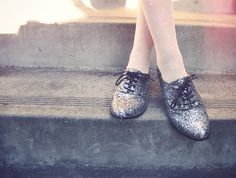 I heart these glittery shoes and polka dot tights.