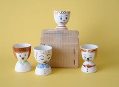 4 Egg Cups 1950s Family