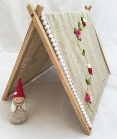 Wood peg doll with A frame tent