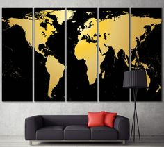 World map large wall art world map canvas print extra large gold black world map extra large canvas print for home office decor gumiabroncs Images