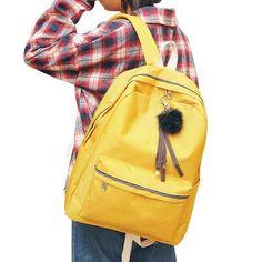 DCIMOR 2018 Women Girls Backpack Canvas Backpacks School Bags For Teenagers  Girl Mochila Feminina Students Hair ball Book Bags 84d6c5c8f63bf