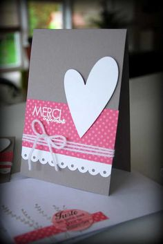 Merci - Thank You card - Tags: French, thank you, thanks, card, merci, heart, pink, sweet, simple