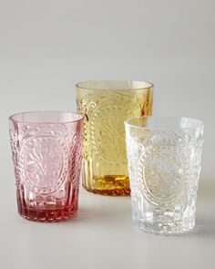 """Fleur-de-Lis"" Glassware at Horchow. buy on sale 6 pink juice glasses"