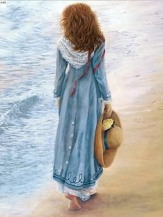 Walking at the beach / watercolor / artwork