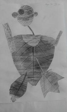 Frotaż z liśćmi