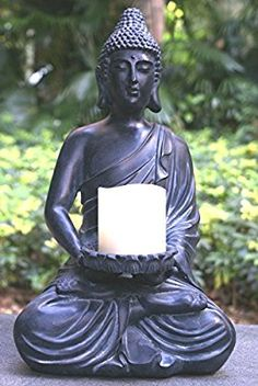 "TIAAN 17"" tall Buddha Statue Votive Candle Holders for Home or Garden Buddha Zen Candlestick"