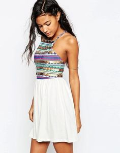 ASOS Halter Sundress With Embroidery and Coin Trim - Shop for women's Dress - Multi