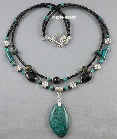 Green Chrysocolla Gemstone Pendant Black Onyx Beads Handmade Necklace
