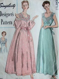 1950 NIGHTGOWN, NEGLIGEE ROBE HOUSECOAT PATTERN GORGEOUS  STYLE 2 SLEEVE VERSIONS SIMPLICITY DESIGNERS 8340