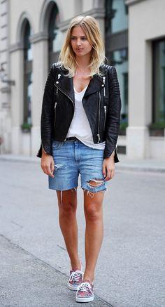 moto jacket & cut-off shorts #style #fashion