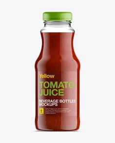 Glass Bottle W/ Tomato Juice Mockup. Preview