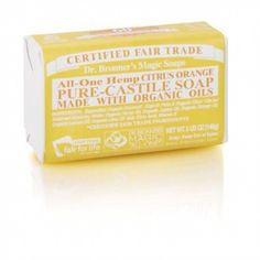 Bronner's Citrus Orange Castile Bar Soap, made with lemon essential oil, stimulates your skin and lifts your spirits. Pure Castile Soap, Lemon Essential Oils, Organic Oil, Orange, Sprays, Bar Soap, Soap Making, Body Care, Beauty Products