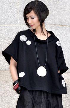 Modena Top in Black/White Tokyo- love the applique detail