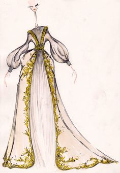 J.Larkowsky Illustration | GREAT !!!!!!!!!!! can i request it one gown for Game Thrones inspired gowns Alexander McQueen Fall 2010 Washed Duchesse Gown With Gold Embroidery that gown killed my heart & took me into heaven