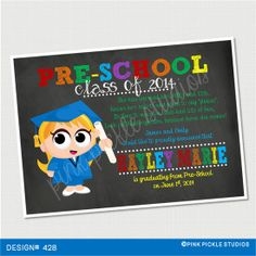 PreSchool Graduation Birthday Invitation or by PinkPickleParties, $10.00