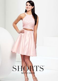 Shorts by Mon Cheri TS21566 Beaded Satin Two Piece Dress - Website Special!