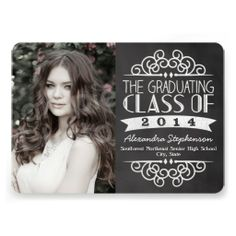 chevron lime gray Graduation photo Invites Graduation