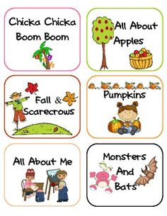 Here's a set of 24 labels for different classroom themes.