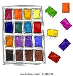 Vector illustration of watercolors kit
