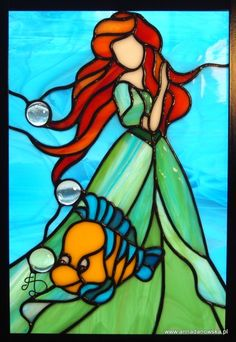 """Disney ~ Ariel from """"The Little Mermaid"""" stained-glass Disney Stained Glass, Stained Glass Quilt, Tiffany Stained Glass, Faux Stained Glass, Stained Glass Designs, Stained Glass Panels, Stained Glass Projects, Stained Glass Patterns, Tiffany Glass"""
