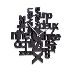 Umbra Reloj de pared Lingua Lingua es un novedoso reloj de pared de la firma Umbra. Fabricado en resina y acabado en color negro. Cada hora en un idioma...