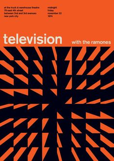 Television at the Truck and Warehouse Theatre, New York City Appearing with the Ramones. Reimagined concert poster by designer Mike Joyce for his Swissted project, fusing rock music & swiss modernist design. Graphisches Design, Swiss Design, Book Design, Layout Design, Print Design, Wave Design, Graphic Design Posters, Graphic Design Typography, Graphic Design Inspiration