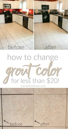 Just look at the difference!  The results were almost instantaneous and the best part is it cost LESS than $20! All it took was a little work & now we finally we had the grout color we wanted! How To Change Grout Color For Less Than $20 from CarrieThisHome.com