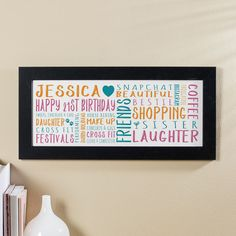 21st Birthday Gift for Her of Personalised Panoramic Word Art (garden party colour option). Beautiful Personalised Word Art Gifts to Commemorate a Landmark Birthday. Easy to Create, Preview on Screen Before You Buy & Fast Free Delivery. Create Now…