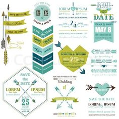 Grafiken von 'Set Hochzeitskarten - Feder, Pfeile und Herz Theme - in Vektor' on Colourbox