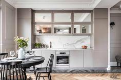 pretty kitchen Mała szara kuchnia z eleganckimi szafkami