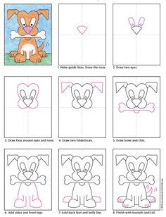 Draw a Cartoon Dog · Art Projects for Kids - Kid's Crafts- Fall 2015 - Cartoon Dog diagram - Drawing Cartoon Characters, Cartoon Drawings, Cartoon Dog, Easy Cartoon, Children Cartoon, Doodle Drawings, Easy Drawings, Drawing Lessons, Art Lessons