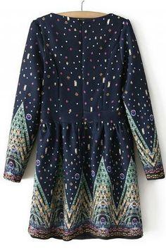 Sweet digital printing long-sleeved dress